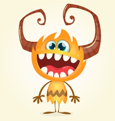 Happy orange monster vector