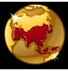 Golden globe with marked of asia countries vector
