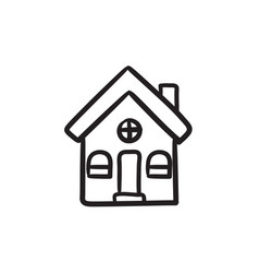 Detached house sketch icon vector