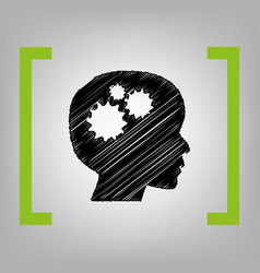 thinking head sign  black scribble icon in vector image
