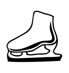 black silhouette ice roller skate icon vector image