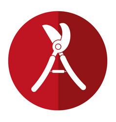 Scissors gardening pruner shadow vector