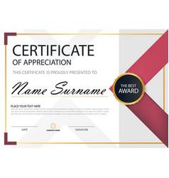 Pink elegance horizontal certificate template vector