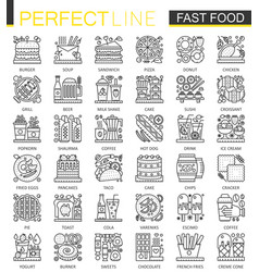 Fast food outline mini concept symbols modern vector