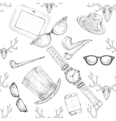 Seamless hand drawn hipster accessories pattern vector