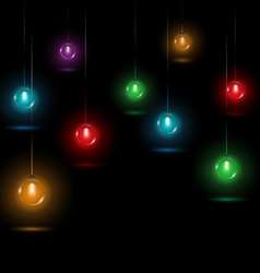 Christmas lights on black vector