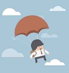 Businessman is flying with parachute vector