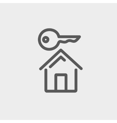 Key for house thin line icon vector image