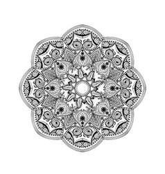 Zentangle stylized elegant round indian mandala vector