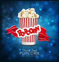 box with popcorn on a blue background with a brigh vector image