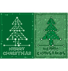 Banners of green spruce with computer elements vector