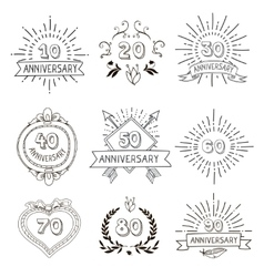 Anniversary birthdays festive emblems icons set vector