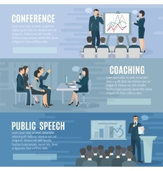 Public speaking flat horizontal banners set vector