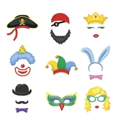 Photo booth birthday and party set - glasses hats vector