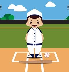 Baseball field baseball player vector image