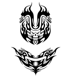 Two bike tattoos in tribal style vector