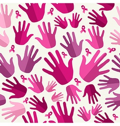 Breast cancer awareness ribbon women hands vector