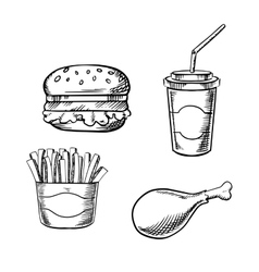 Burger french fries chicken leg and soda cup vector image vector image