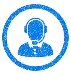 Call center operator rounded icon rubber stamp vector