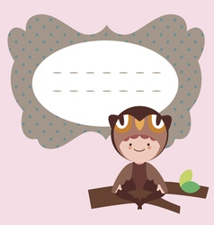 Card with cute little owl baby vector image vector image