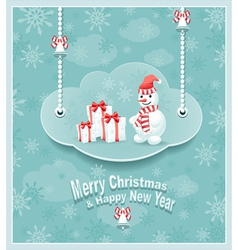 Cloud with snowman gift bells 380 vector image vector image