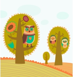 Cute colorful trees with owls vector image