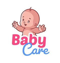 Cute toddler baby care logo vector