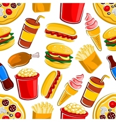 Fast food drinks and dessert pattern vector