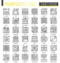 fast food outline mini concept symbols modern vector image vector image