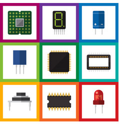 flat icon technology set of mainframe receptacle vector image