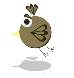 Funny Flying Little Cartoon Bird vector image