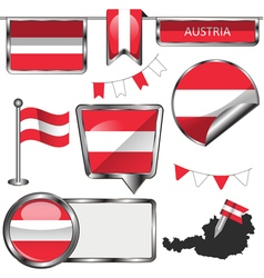 Glossy icons with Austrian flag vector image vector image