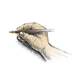 Hand holding pencil sketch vector