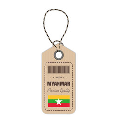 Hang tag made in myanmar with flag icon isolated vector