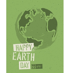 Happy Earth Day Poster Symbolic Earth on the green vector image
