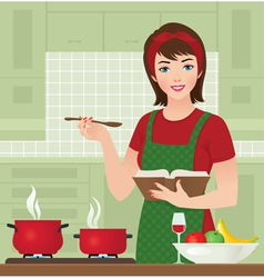 Housewife in the kitchen vector image vector image