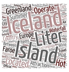 Iceland text background wordcloud concept vector