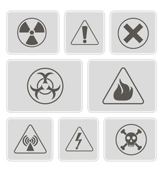 Monochrome icons with warning signs vector