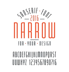 Narrow sanserif font and numbers vector