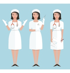 Nurse or doctor in poses showing making injection vector
