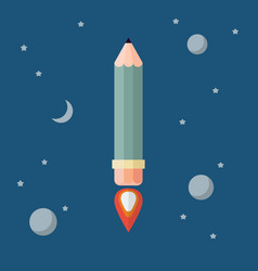 Pencil rocket flies into space vector