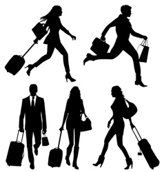 People silhouettes in a hurry at the airport vector image vector image