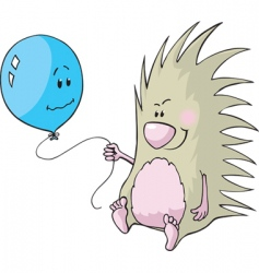 porcupine and balloon vector image vector image
