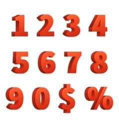 Red 3d numbers signs vector