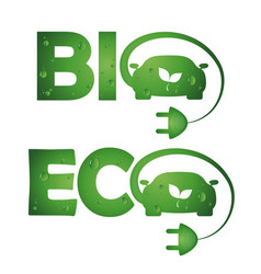 Symbols bio eco cars vector