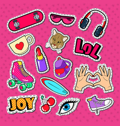 Teenager girl fashion badges patches and stickers vector