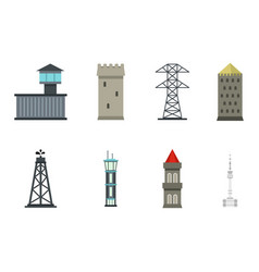 tower icon set flat style vector image vector image