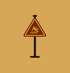 traffic sign caution danger of falling into the vector image vector image