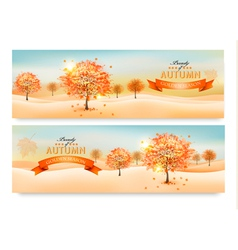 Two autumn abstract banners with colorful leaves vector image