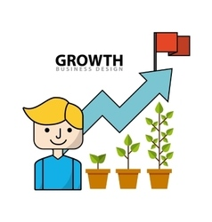 Business growth flat line icons vector